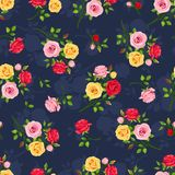 Seamless pattern with red, pink and yellow roses on blue. Vector illustration. Royalty Free Stock Image