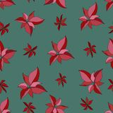 Seamless pattern with red poinsettia on green backgroundю Merry stock illustration