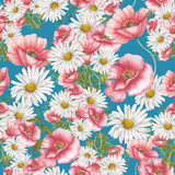 Seamless pattern of red poppies and chamomile bouquet on blue background Stock Photography