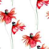 Seamless pattern with Red Poppies flowers with petal fall off Stock Photography
