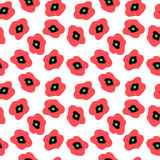 Seamless pattern with red poppies on a white background. Seamless pattern with a red poppies on a white background Royalty Free Stock Photo