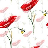 Seamless pattern with Red Poppy flower. Watercolor illustration Stock Photo