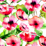 Seamless pattern with Red Poppy flowers. Watercolor illustration Stock Photography