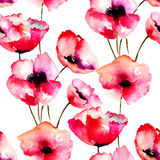 Seamless pattern with Red Poppy flowers Royalty Free Stock Photo
