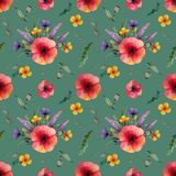 Seamless pattern with red poppy and lilac cornflowers flowers yellow flowers and herbs on a green background stock illustration