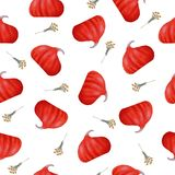 Seamless pattern with red pumpkin and herbal on white background as fabric, textile, clothes, paper. Raster illustration.  royalty free illustration
