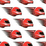 Seamless pattern of red racing helmet with speed Stock Photography