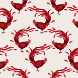Seamless pattern with red roosters. Stock Photography