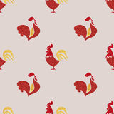 Seamless pattern with red roosters. Symbol of 2017 year. Chinese New Year of the Rooster. Vector background Royalty Free Stock Photography