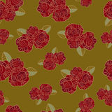 Seamless pattern of the red rose Stock Image