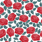Seamless pattern of red rose flower Royalty Free Stock Photos