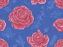 Seamless pattern with red roses on bright blue background Royalty Free Stock Photography