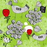Seamless pattern with red roses and doodle birds. Stock Photography