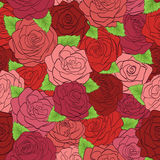 Seamless pattern red roses with green leaves Stock Image