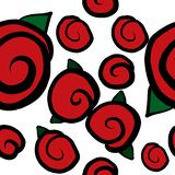 Seamless pattern with red roses stock illustration