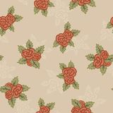 Colorful seamless pattern. Hand drawn red and light roses on beige background. Retro design. Seamless pattern with red roses and leaves. Hand drawn elements Royalty Free Stock Photos
