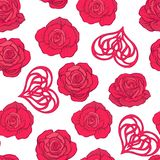 Seamless pattern with red roses and love heart on white backgrou Stock Photos