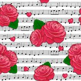 Seamless pattern with the red roses and music notes. Seamless pattern with the hand drawn red roses and music notes on the white background. Element for design stock illustration