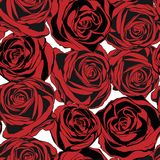 Seamless pattern with red roses. Vector Stock Photo