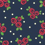 Seamless pattern with red roses. Vector illustration. Vector drawing with red roses on a dark background. Floral background Royalty Free Stock Image