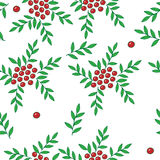 Seamless pattern with red rowan berry and green leaf Royalty Free Stock Images
