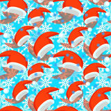 Seamless pattern red Santa Claus hat. vector illustration. Seamless pattern of red Santa Claus hat , snowflake vector illustration Stock Photos