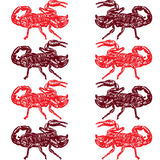 Seamless pattern of red scorpion Stock Photography
