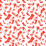 Seamless pattern of red shoes at very high heels Royalty Free Stock Photography