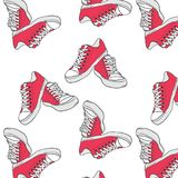 Illustrations-04. Seamless pattern with red sneakers stock illustration