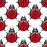 Seamless pattern of a red spotted ladybug Royalty Free Stock Image