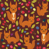 Seamless pattern with red squirrel, Cherry Strawberry Raspberry Blackberry Blueberry Cranberry Cowberry Goji Grape  on dark vinous. Background. Vector Royalty Free Stock Image
