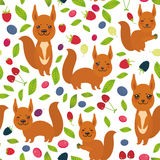 Seamless pattern with red squirrel, Cherry Strawberry Raspberry Blackberry Blueberry Cranberry Cowberry Goji Grape isolated on whi. Te background. Vector Stock Photos