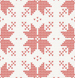 Seamless pattern with Red stars in Norwegian style Stock Images