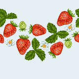 Seamless pattern with red strawberries. Decorative berries and leaves.  Royalty Free Stock Image