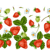 Seamless pattern with red strawberries. Decorative berries and leaves Royalty Free Stock Photo