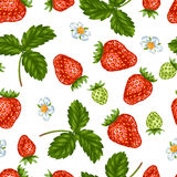 Seamless pattern with red strawberries. Decorative berries and leaves.  Stock Images