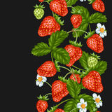 Seamless pattern with red strawberries. Decorative berries and leaves Royalty Free Stock Photos