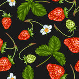 Seamless pattern with red strawberries. Decorative berries and leaves.  Royalty Free Stock Images