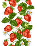 Seamless pattern with red strawberries. Decorative berries and leaves.  Stock Image