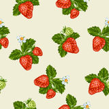 Seamless pattern with red strawberries. Decorative berries and leaves.  Royalty Free Stock Photo