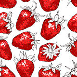 Seamless pattern with red strawberries. Hand drawn vector illustration with grunge texture. EPS10 Royalty Free Stock Image