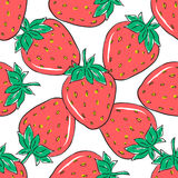 Seamless pattern with red strawberries on white background. Hand drawn berries for wrapping paper, textile and other design Stock Photo