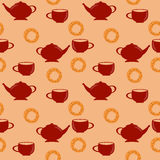 Seamless pattern with red teapot and cup and sweet pretzel. With poppy seeds Stock Photo
