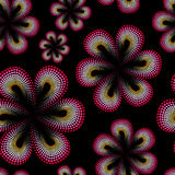 Seamless pattern with red tiare flower. Dots, doted pattern. Monoi flower. Black background. Stock Image
