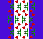Seamless pattern with red tulip flowers. Royalty Free Stock Image