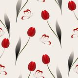 Seamless pattern with red tulips on a beige background. Seamless pattern with red tulips on a beige background, beautiful illustration Royalty Free Stock Photos