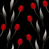 Seamless pattern with red tulips on a black background. Seamless pattern with red tulips on a black background, beautiful illustration Royalty Free Stock Photography