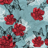 Seamless pattern with red tulips and black butterf Stock Photography