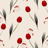 Seamless pattern with red tulips and butterflies on a beige background. Seamless pattern with red tulips and butterflies on a beige background, beautiful Royalty Free Stock Images