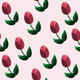 Seamless pattern with red tulips. Vector illustration Stock Photo